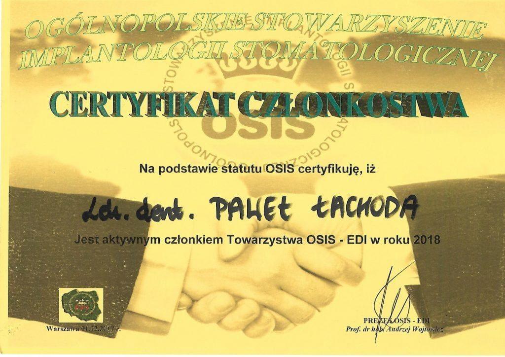 Paweł Łachoda - certyfikat OSIS-EDI 2018