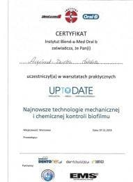 Certyfikat Instytut Instytutu Blend-a-Med