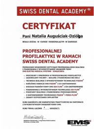 Certyfikat Profesjonalnej profilaktyki w ramach Swiss Dental Academy