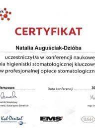 Certyfikat Zadania higienistki stomatologicznej