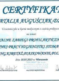 Certyfikat profesjonalne zabiegi