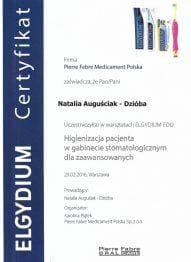 Certyfikat Higienizacja pacjenta w gabinecie stomatologicznym dla zaawansowanych