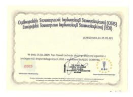 certyfikat implantologiczny