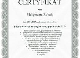 Certyfikat Małgorzata Robak