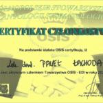 Certyfikat członkowska Paweł Lichota